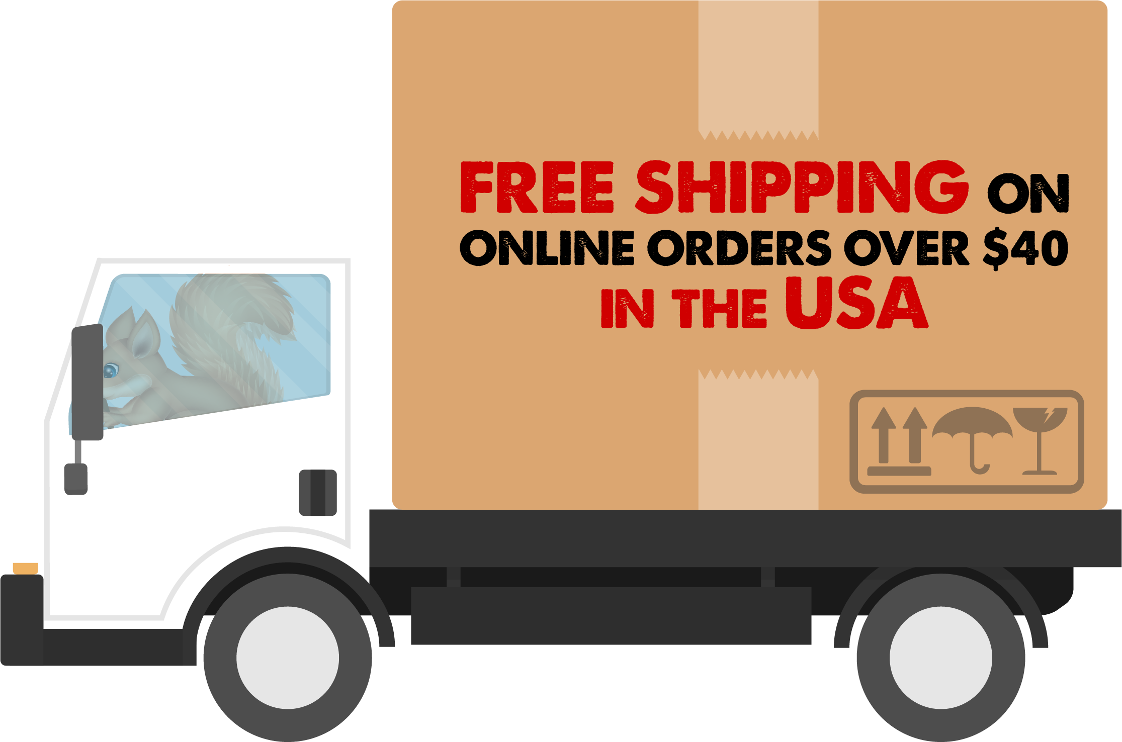 Free shipping on online orders over $40 in the USA